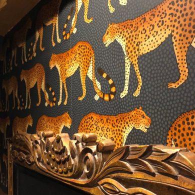 multi room interior design project cheeta wallpaper